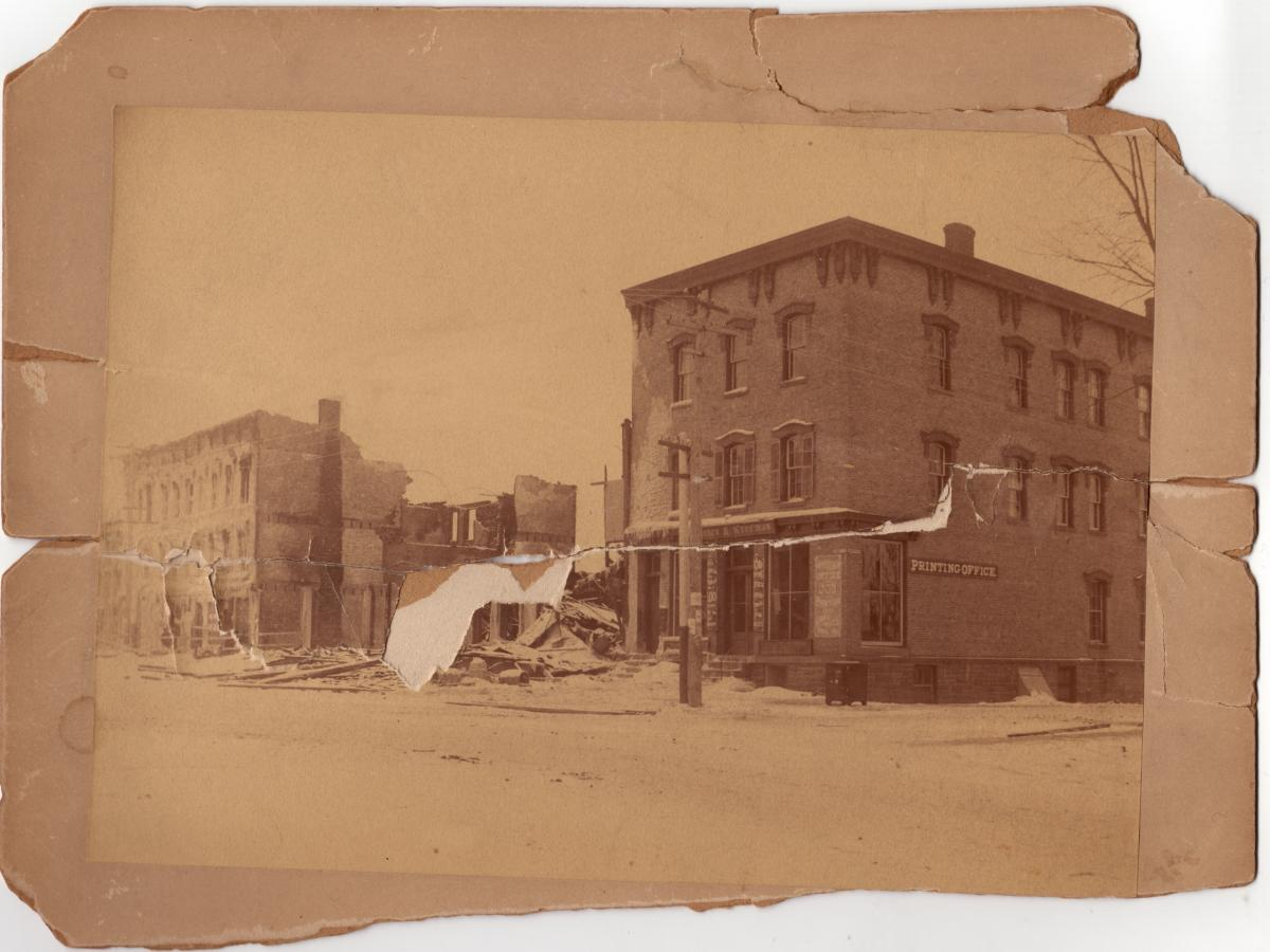 Courier & Freeman Office and Printing Shop, 59 Market Street, after fire