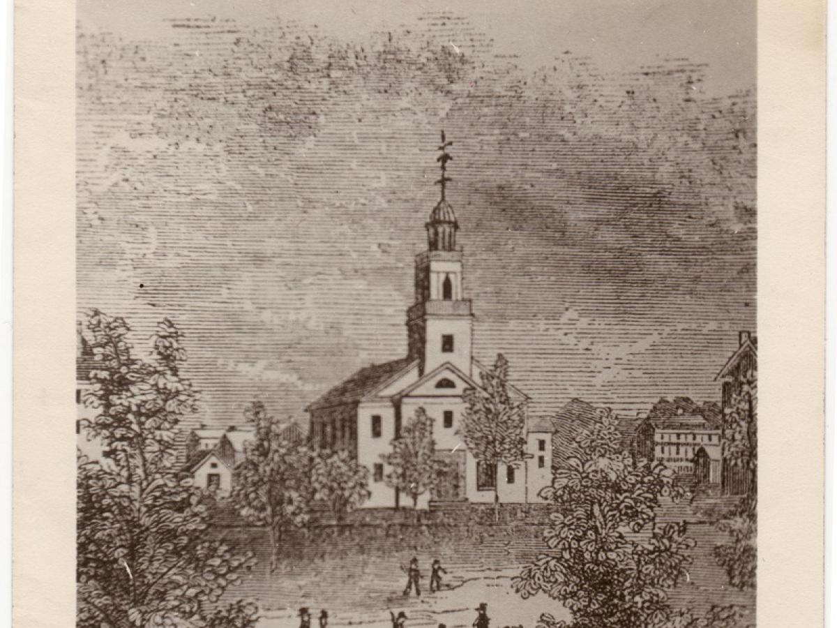 "Presbyterian Church, on Park Street across from what is now the Civic Center. It was constructed of wood and painted white - refered to as the ""The White Church"""
