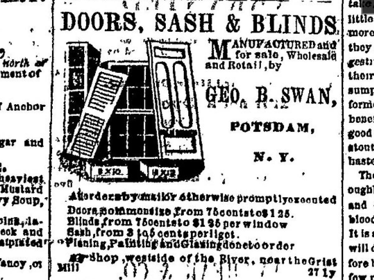 George B Swan Advertisement for Doors, Sash & Blinds Factory August 30, 1865 from Courier and Freeman