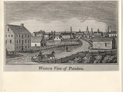 Engraving of the Potsdam Grist Mill built of Potsdam sandstone in 1838 and demolished in the 1960s