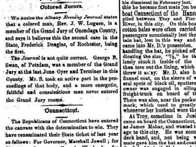 Excerpt from The Ogdensburg Journal, February 8, 1869, Page 2. This states that G. B. Swan was a member on the Grand Jury and it states so in a positive and flattering manner.
